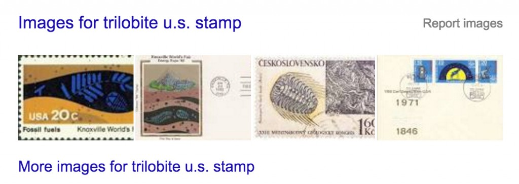 Google search for trilobites on U.S. stamps